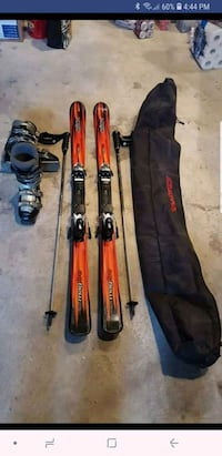 Skis, boots, poles and bag.  Montreal, H8Y 1J5
