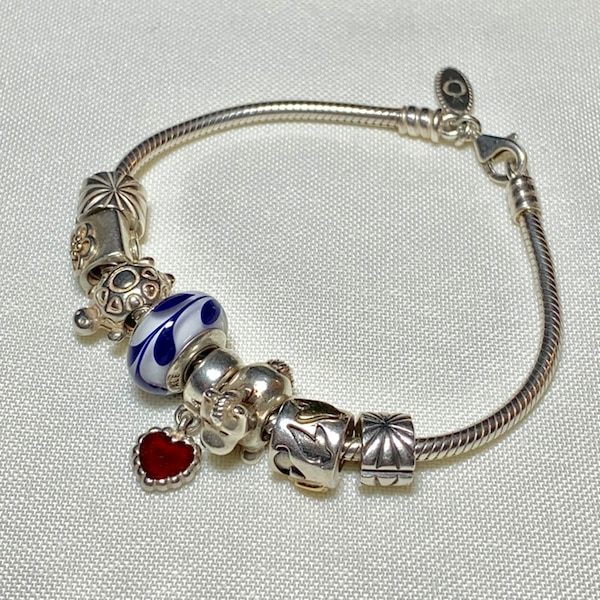 Genuine Pandora Sterling Silver Charm Bracelet with 8 Charms 72f6c508-0bb2-4ed5-87d5-fa2a028d2aae