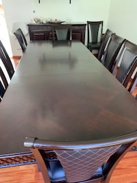 Extendable, 12 person dining table set with leather chairs and server Hawthorne, 07506