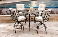 round black metal framed glass top patio table set Toronto, M3K 1A3