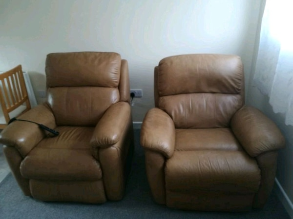 brown real leather recliner sofa chair