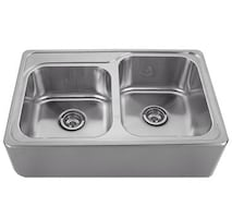 "WHITEHAUS 33"" BRUSHED STAINLESS STEEL DOUBLE BOWL FARMHOUSE APRON SINK"