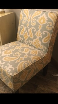 Gray and yellow pattern designer accent chair
