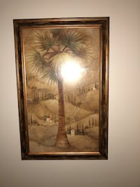 brown wooden framed palm tree painting