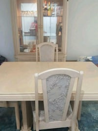 rectangular white wooden table with six chairs dining set Brampton, L6V 3V6