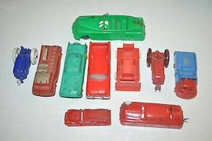 10 Vintage Rubber and Plastic Cars, Tractors and More
