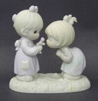 Precious Moments girl's in white dresses ceramic figurine