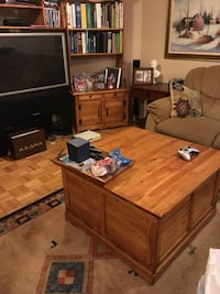 Wall unit - tv - coffee table all real wood quality product Coffe table is also storage unit carpet included . ( books not included)