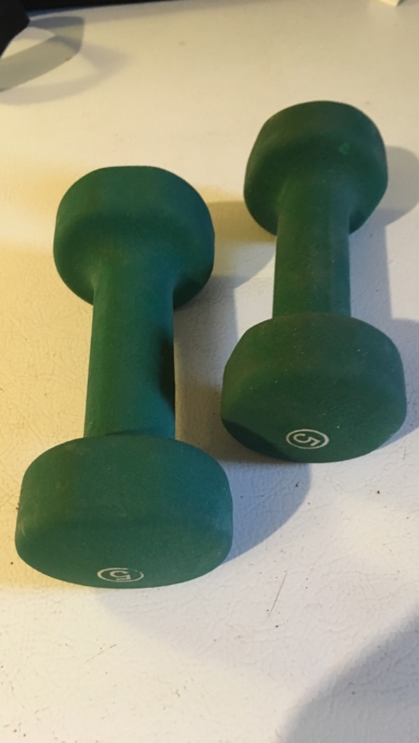 two 5lbs green dumbbells