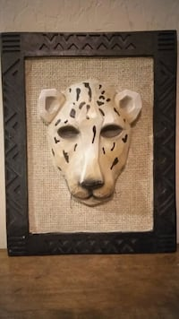 black and white wooden animal face mask wall decor frame