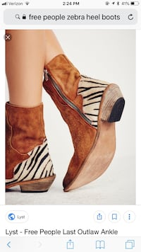 Free People outlaw suede boots with zebra trim 39/8.5 Fairfield, 06824