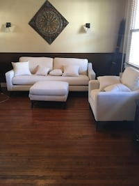 Large Magnolia Home Couch, over sized Chair and Ottoman  null