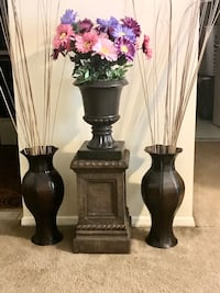 "4 pc decor 2 brown vases 20"" with pedestal stand and flower pot  Gaithersburg, 20877"