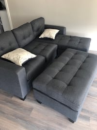 Brand New Grey Linen Sectional Sofa Couch + Ottoman Silver Spring, 20902