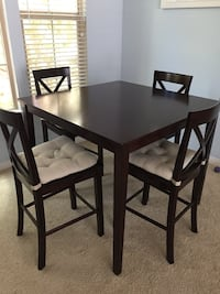 square brown wooden table with four chairs dining set Irvine, 92620