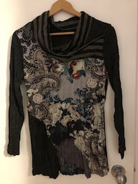 black and gray floral long-sleeved shirt Edmonton, T5H 3B9