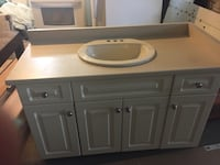brown wooden vanity sink with mirror St Catharines, L2T 1S8