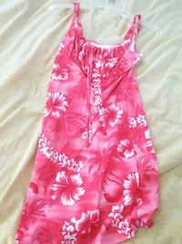 pink and white floral sleeveless dress
