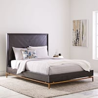 West Elm queen bed - black & brass Los Angeles