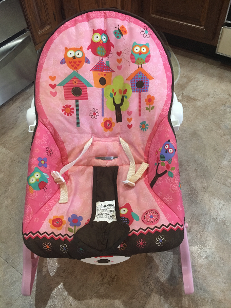 Baby's pink and black floral Fisher-Price cradle and swing Brookhaven