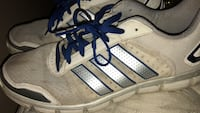 5$Pair of white-and-blue adidas  sneakers Bakersfield, 93309