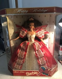 1997 Happy Holidays Barbie Doll NRFB Red & White Gown Dress Mattel  Lowellville, 44436
