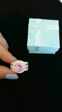 silver plated and pink stone ring with box Calgary