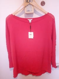 red scoop-neck long-sleeve shirt