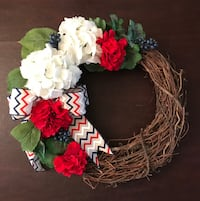 white and red hydrangeas accent twig wreath New York, 10012