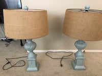 Potato Barn Wood and Burlap lamps