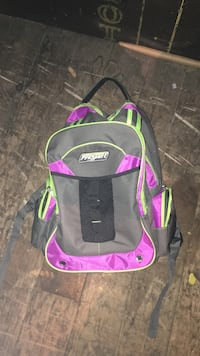 purple, gray and green ProSport backpack
