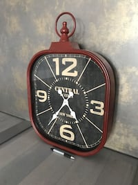 Large red metal Central Station New York wall clock. Pier One. Mississauga, L5E