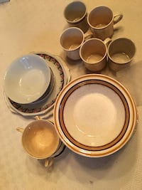 white-and-red ceramic dinnerware set MONTREAL