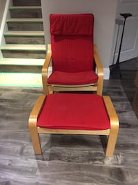 Two red ikea chairs and foot stool Waterloo, N2K 0C3