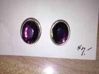 two gold-colored purple gemstone encrusted accessories Livingston, 12523