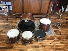 DW Hand Crafted Collectors Series Drum Kit. Color is Satin Oil