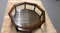 octagonal brown wooden framed glass-top coffee table Allentown, 18109