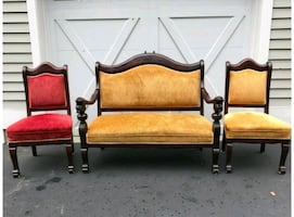 Lion Arm- Antique Settee and 2 chairs- velvet
