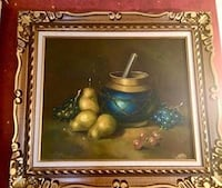 Beautiful large beautifully framed still life oil  painting on canvas.