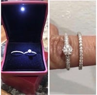 14k White Gold .75ctw TOTAL ON BOTH RINGS Diamond Engagement Ring AND Wedding Band Size 6.5 Newark, 07107