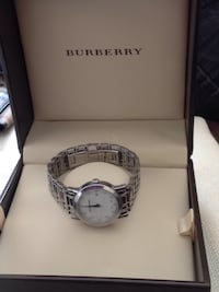 Burberry silver-colored analog watch with link bracelet