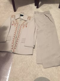 Gray button-up vest with pants