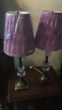 two brown metal vase with purple lampshade desk lamps Metairie, 70002