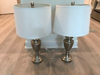 Two stainless steel base white shade table lamps Washington, 20003
