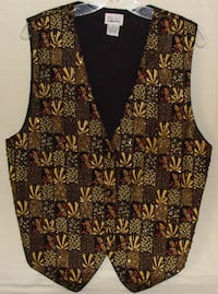 Halsey Collection Womens Black & Gold Beaded Vest
