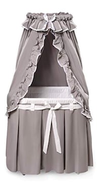 Badger Baby Bassinet in Grey and White 653 mi