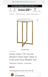 Brand New marble and gold Side table Markham