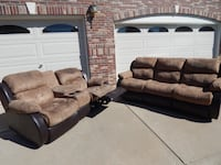 Microfiber Brown Couches with Two Recliners Broomfield, 80020