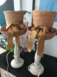 Lamps with rattan hat shade (pair) Ashburn, 20148