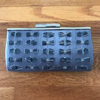 Macy's Grey Silver Beaded Clutch Bag With Shoulder Strap Springfield, 22150